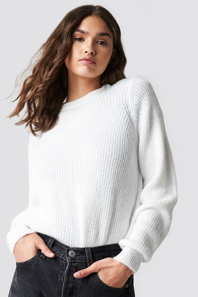 Crew Neck Knitted Sweater Offwhite