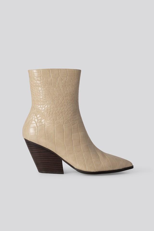 Croc Western Heel Pointy Boots Beige