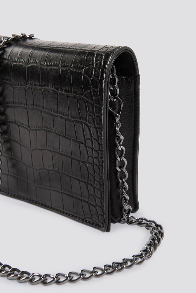 Croco Mini Messenger Bag Black