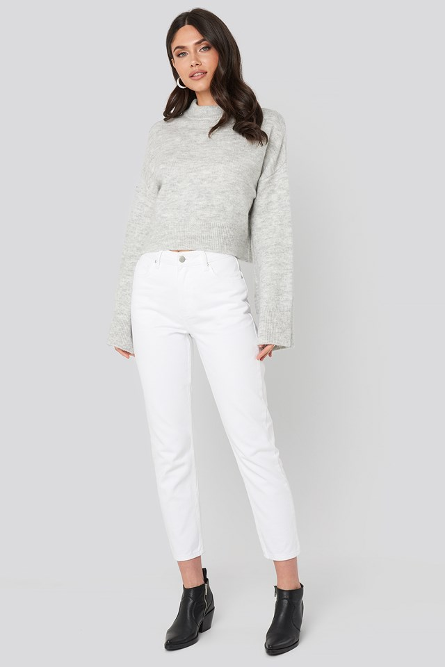 Cropped 5 Pocket Jeans Offwhite