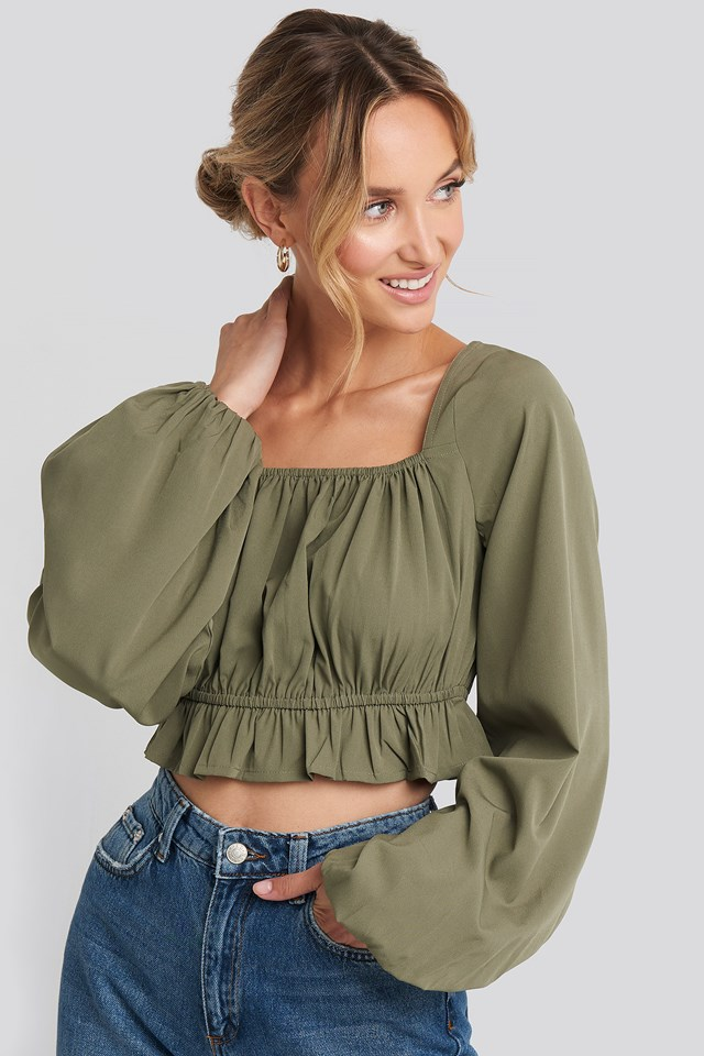 Cropped Balloon Sleeve Frill Top Khaki Green