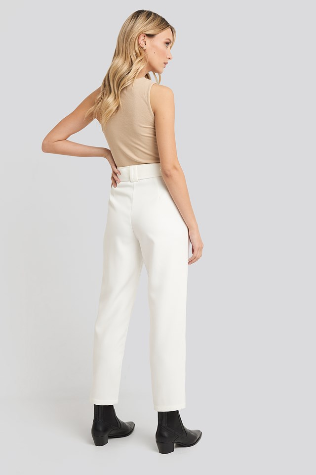 Cropped Belted Pants White