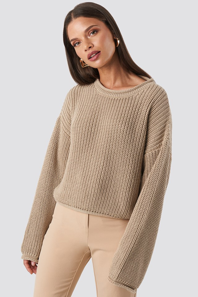 Cropped Boat Neck Knitted Sweater Beige