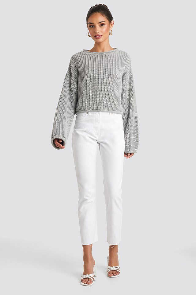Cropped Boat Neck Knitted Sweater Light Grey