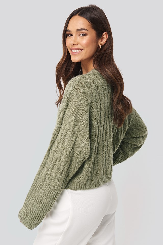 Cropped Cable Knitted Sweater Light Khaki