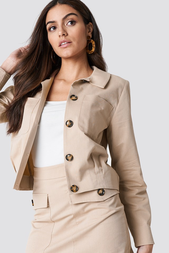 Cropped Cotton Blend Jacket NA-KD Trend