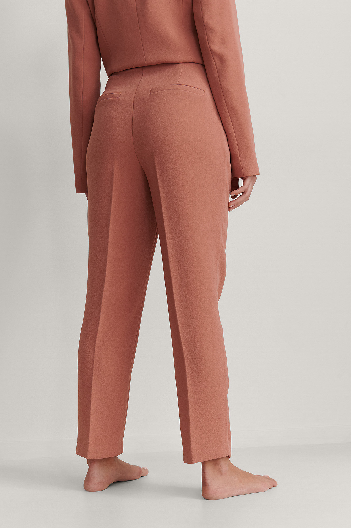 Pink Cropped Darted Suit Pants