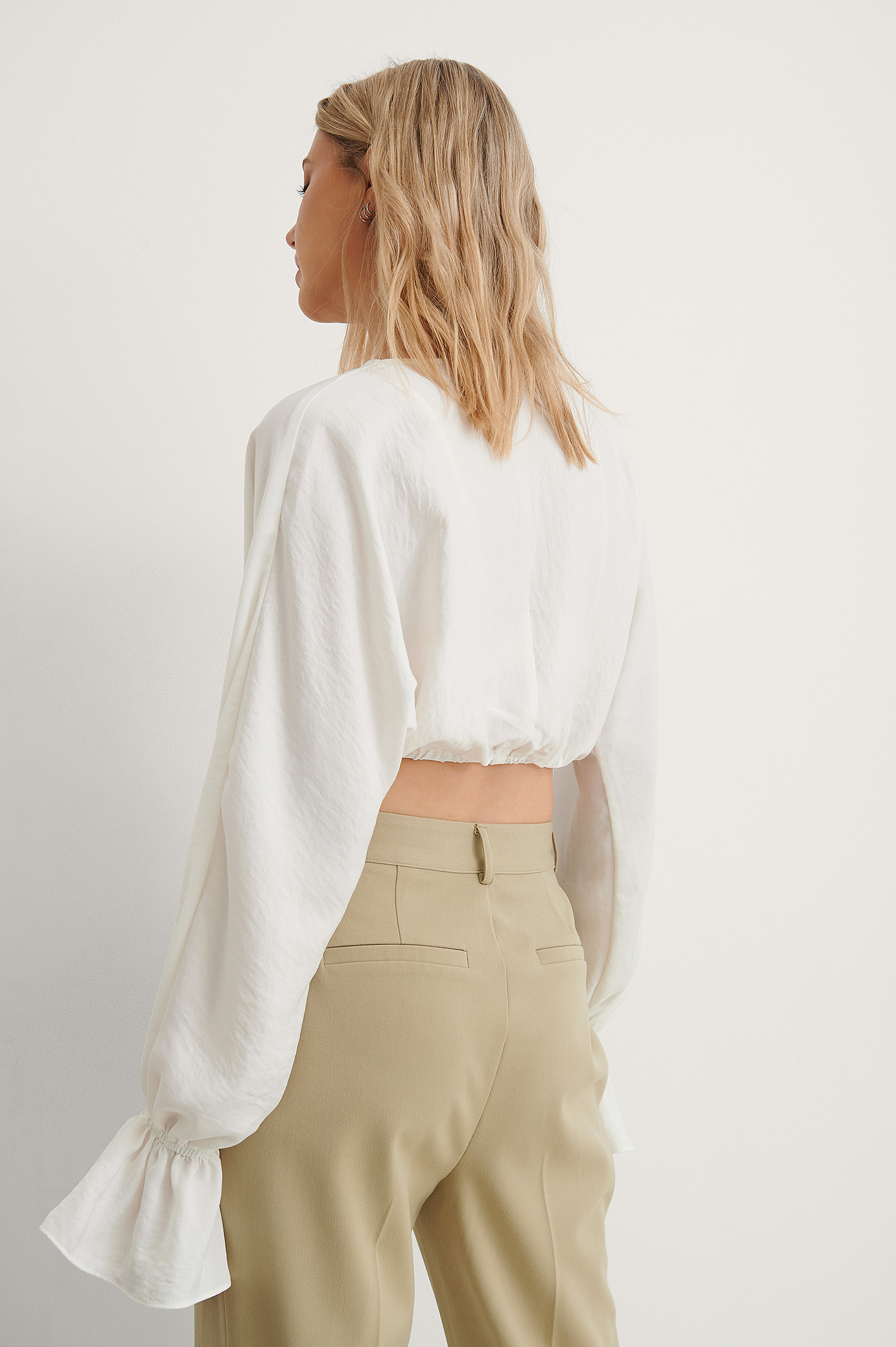 White Cropped Flowy Blouse
