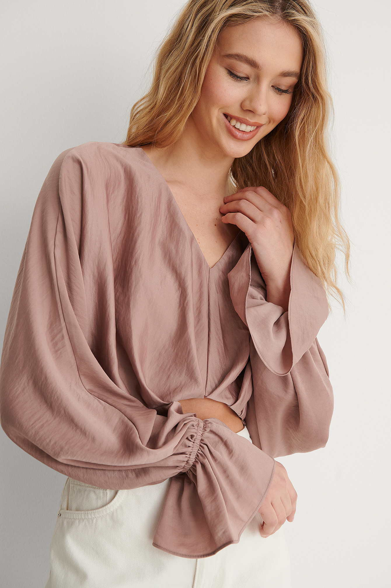 Dusty Pink Cropped Flowy Blouse