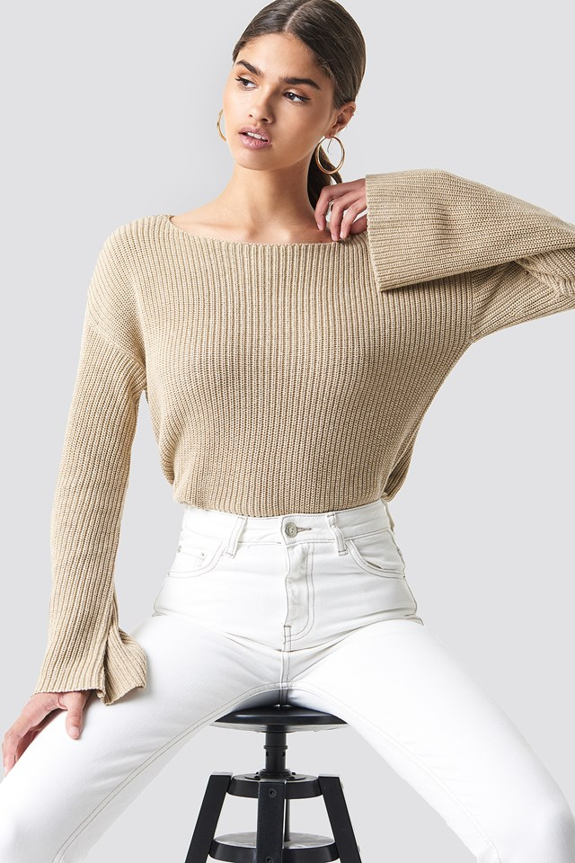 Cropped Long Sleeve Knitted Sweater Beige