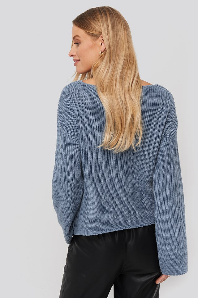 Cropped Long Sleeve Knitted Sweater Stone Blue