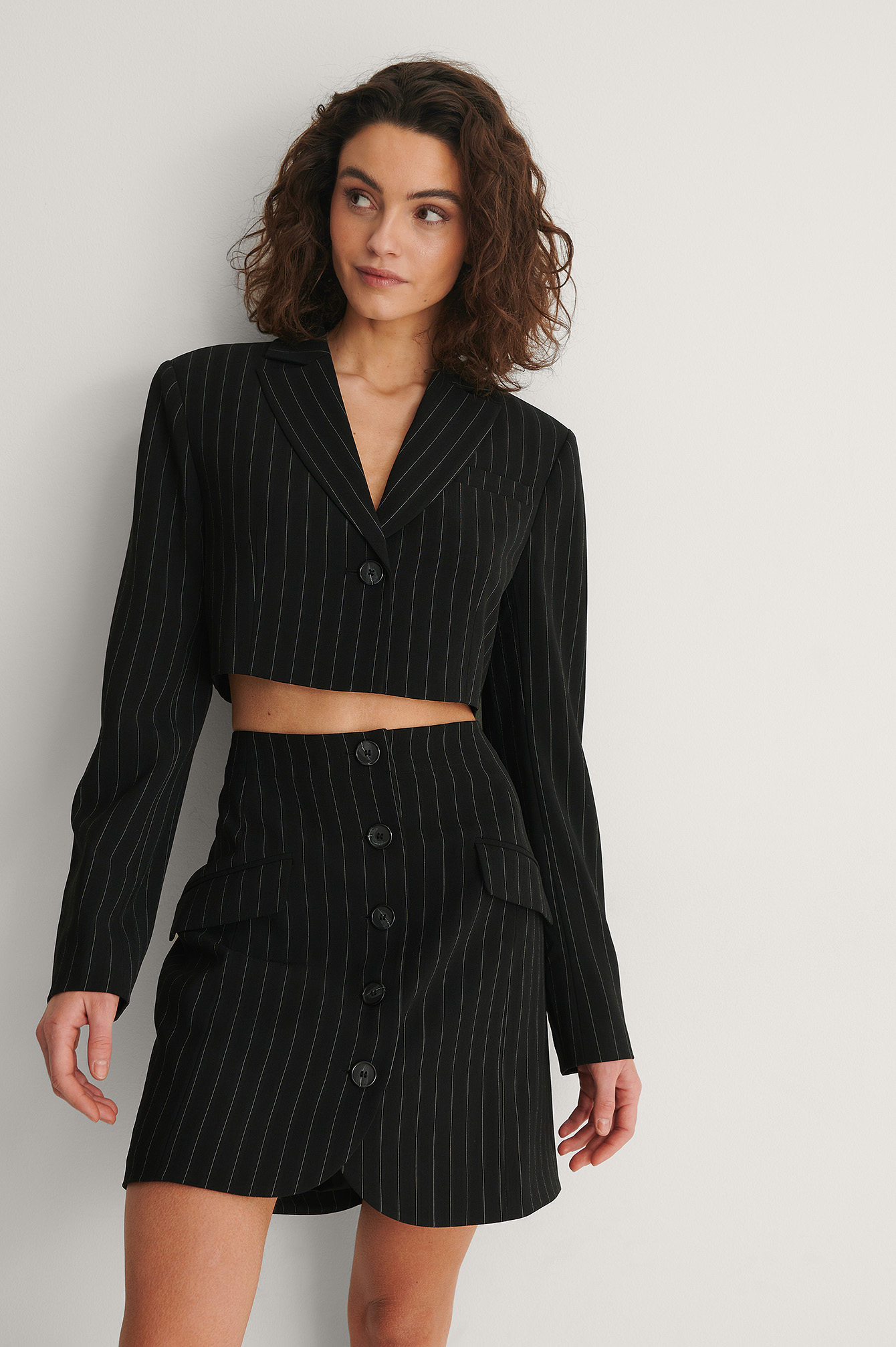 Stripe Print Cropped Pinstriped Blazer