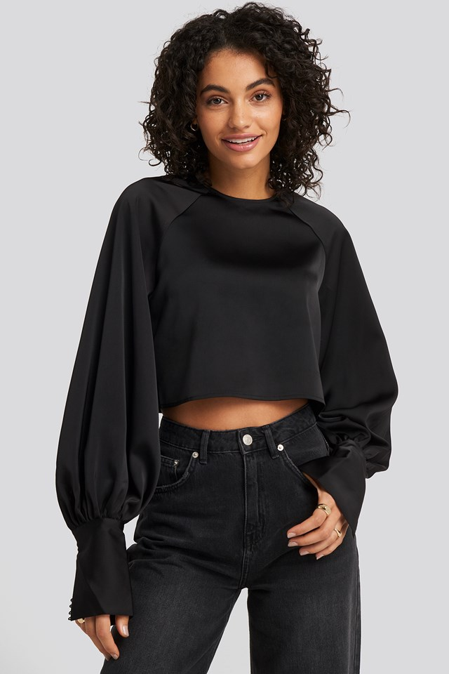Cropped Satin Balloon Sleeve Blouse NA-KD Party