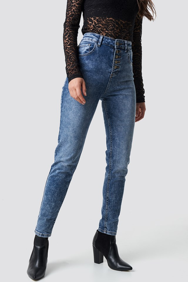 Cropped Skinny Jeans Mid Blue