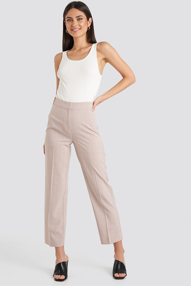 Cropped Straight Suit Check Pants NA-KD Classic