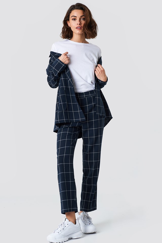 Cropped Straight Suit Pants Checkered