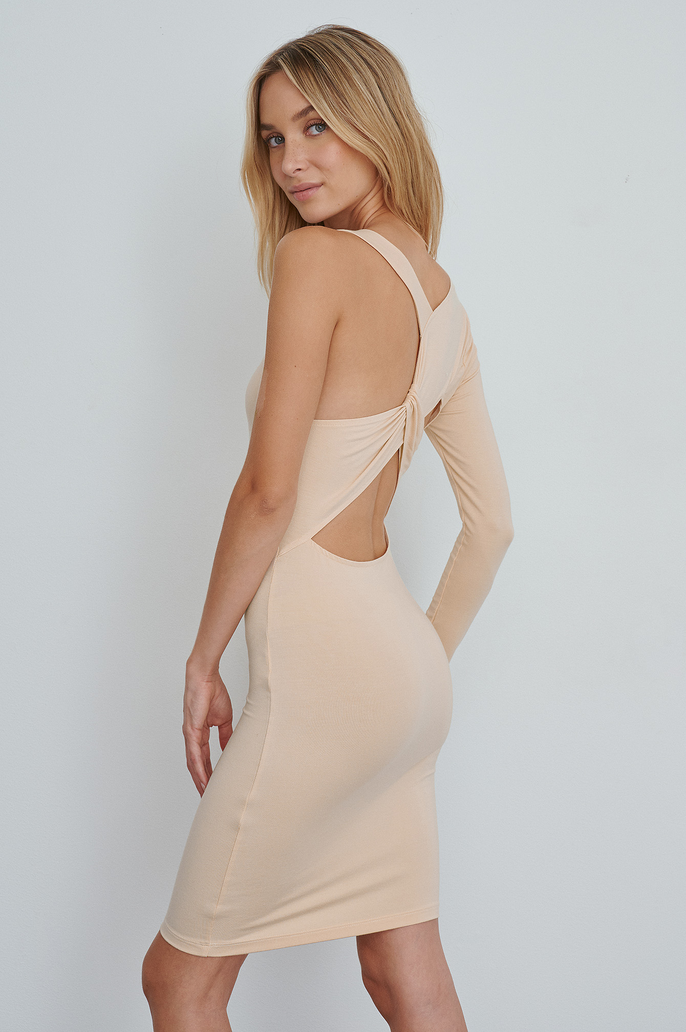 Beige Cross Back Mini Dress