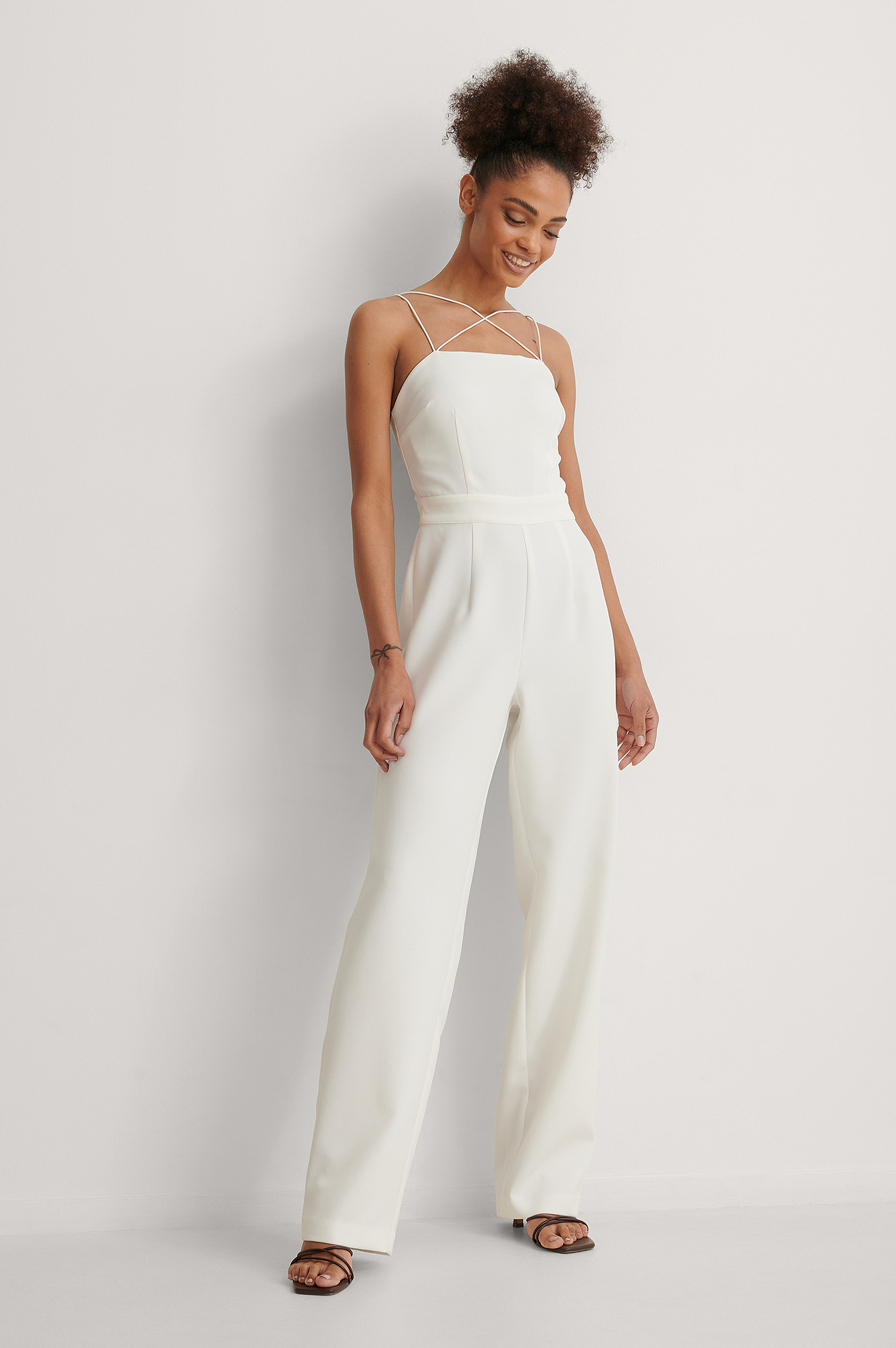 White Cross Detail Jumpsuit