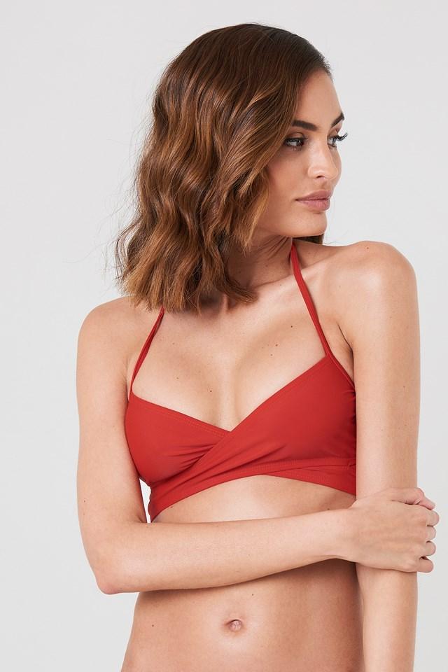 Cross Front Bikini Top Red