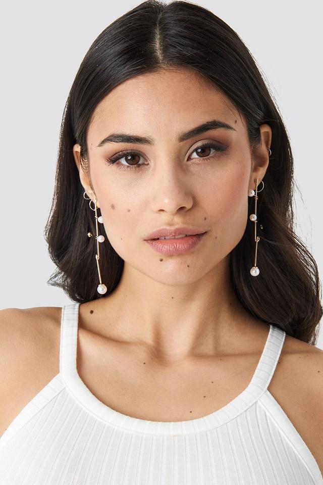 Crossed Bars Pearl Earrings NA-KD Accessories