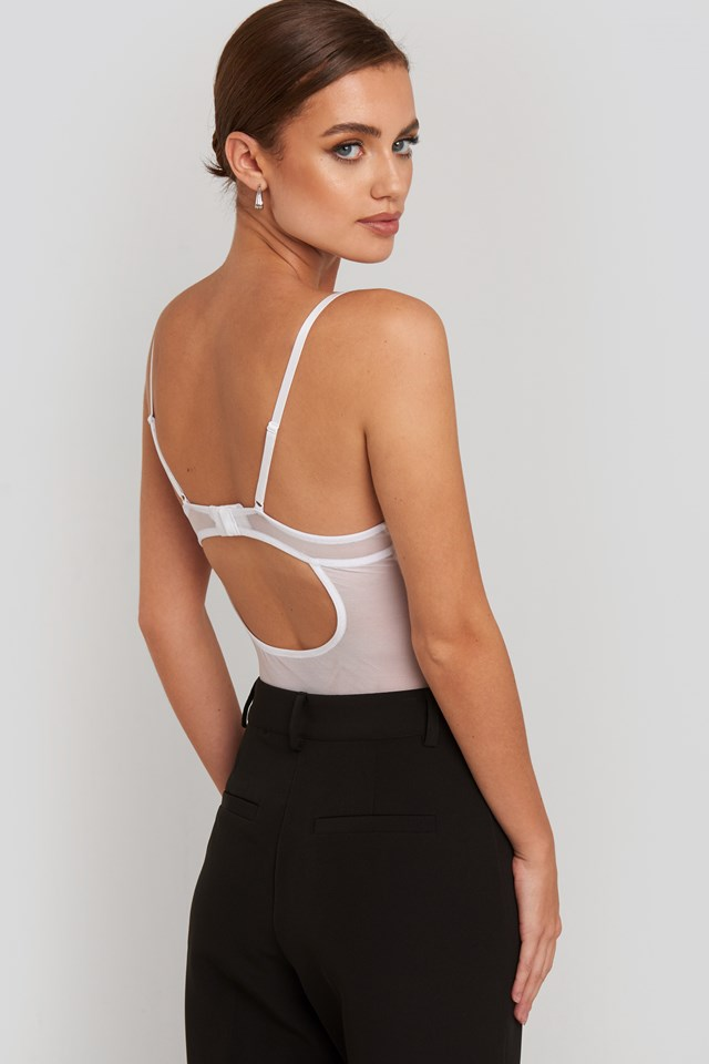 Raw Edge Lace Cup Bodysuit White