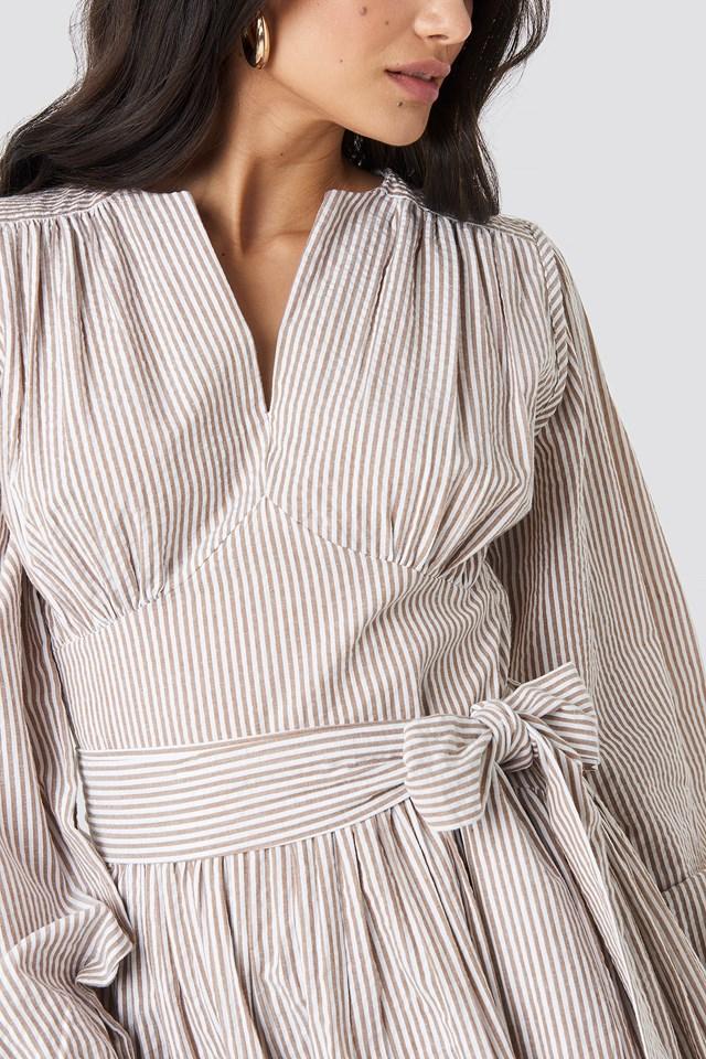 Cup Detail Tie Waist Dress Stripe