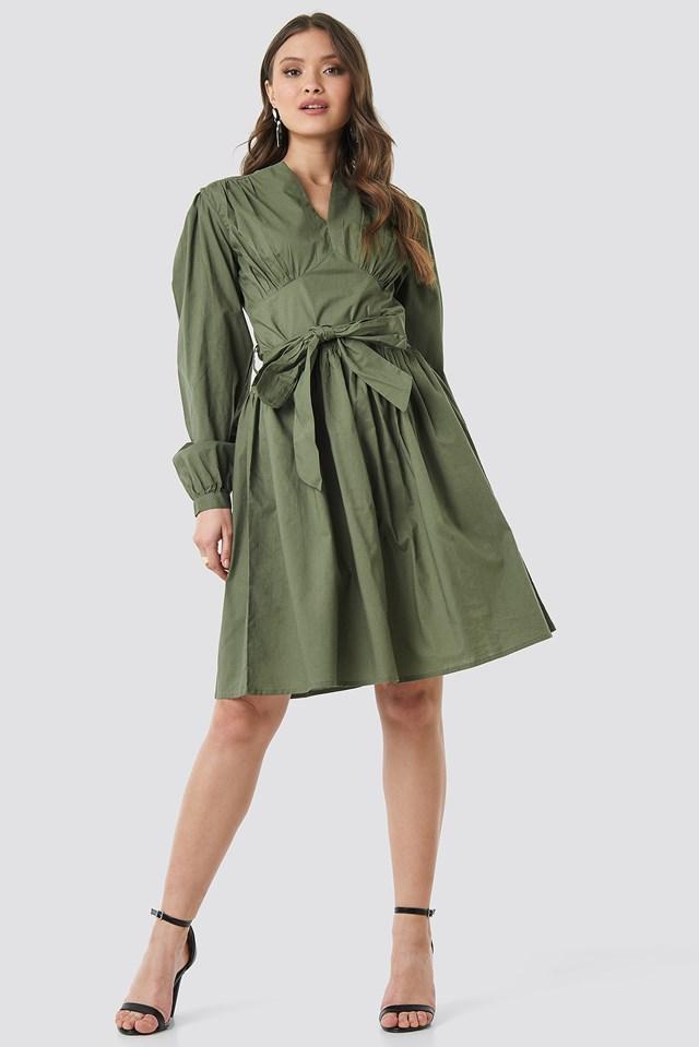Cup Detail Tie Waist Dress Khaki Green