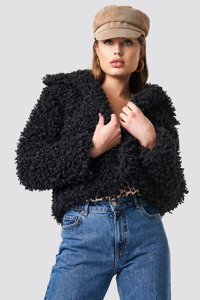 Curly Faux Fur Jacket Black