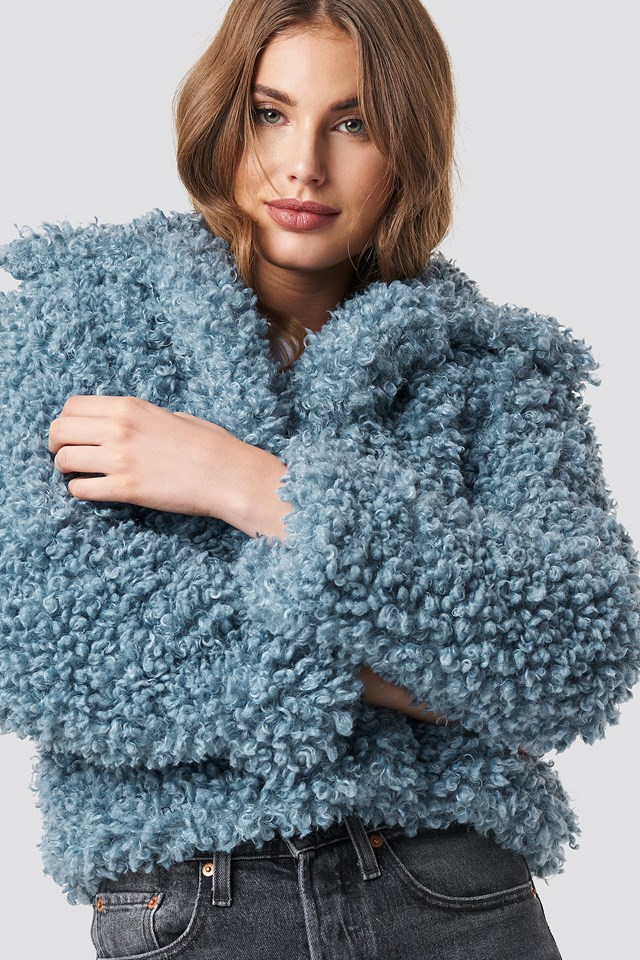Curly Faux Fur Jacket Blue