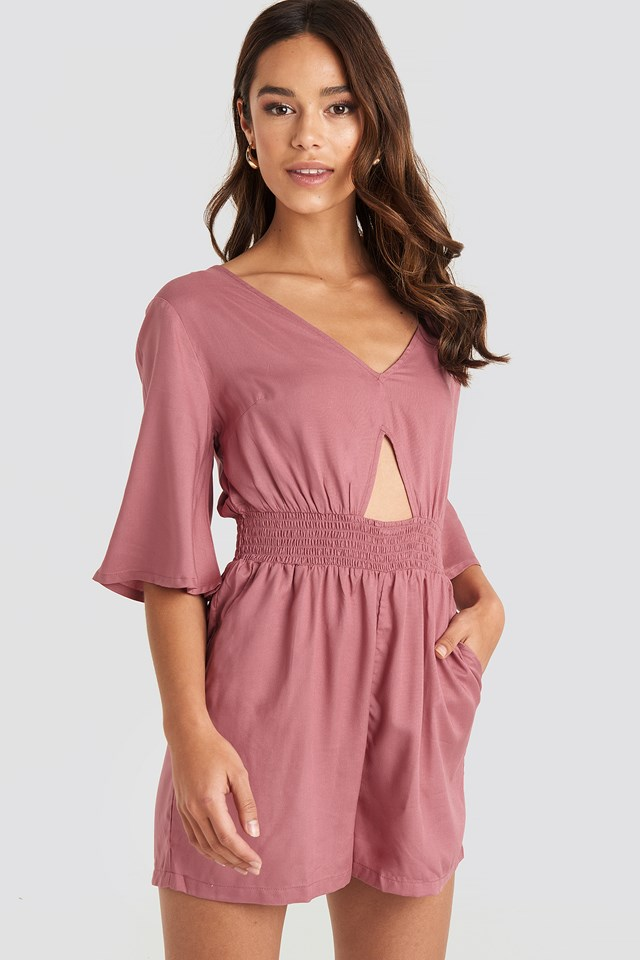 Cut Out Detail Playsuit Pink Umber
