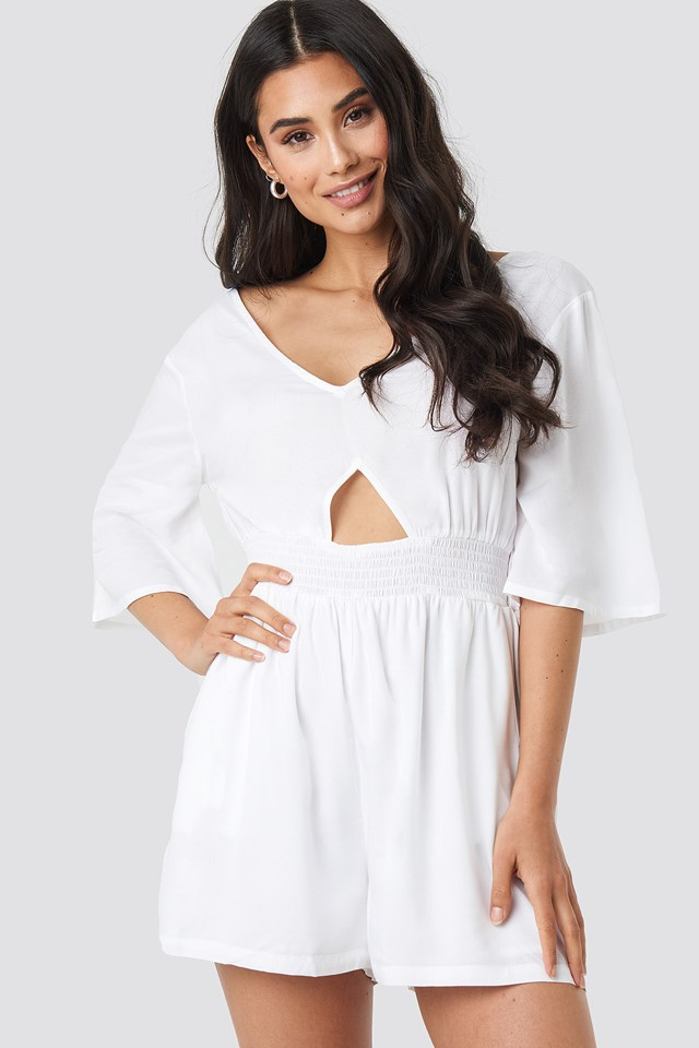 Cut Out Detail Playsuit White