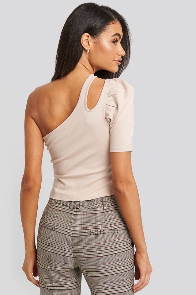 Cut Out One Shoulder Top Dusty Light Beige