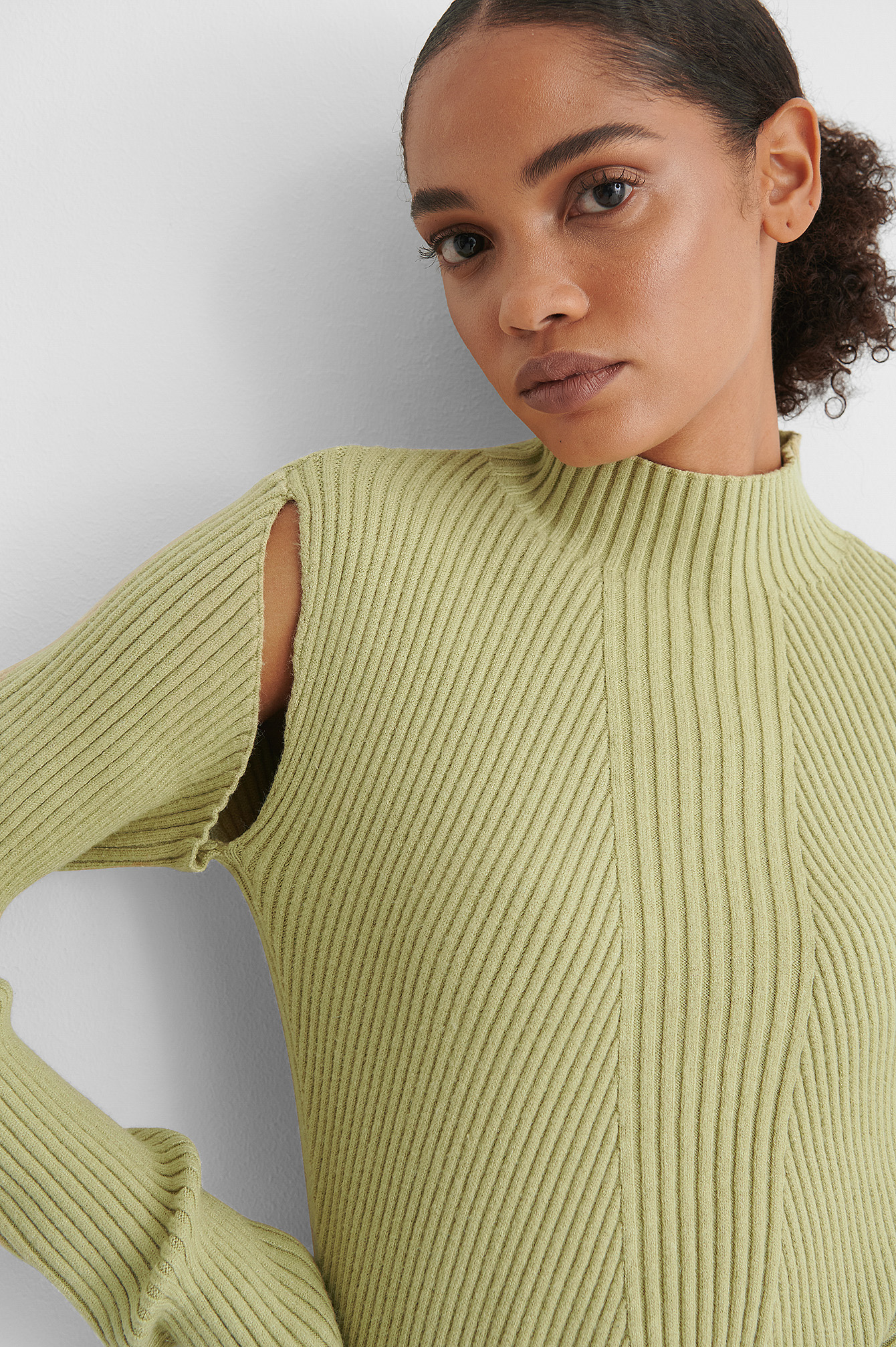Light Green Cut Out Ribbed Knitted High Neck Sweater