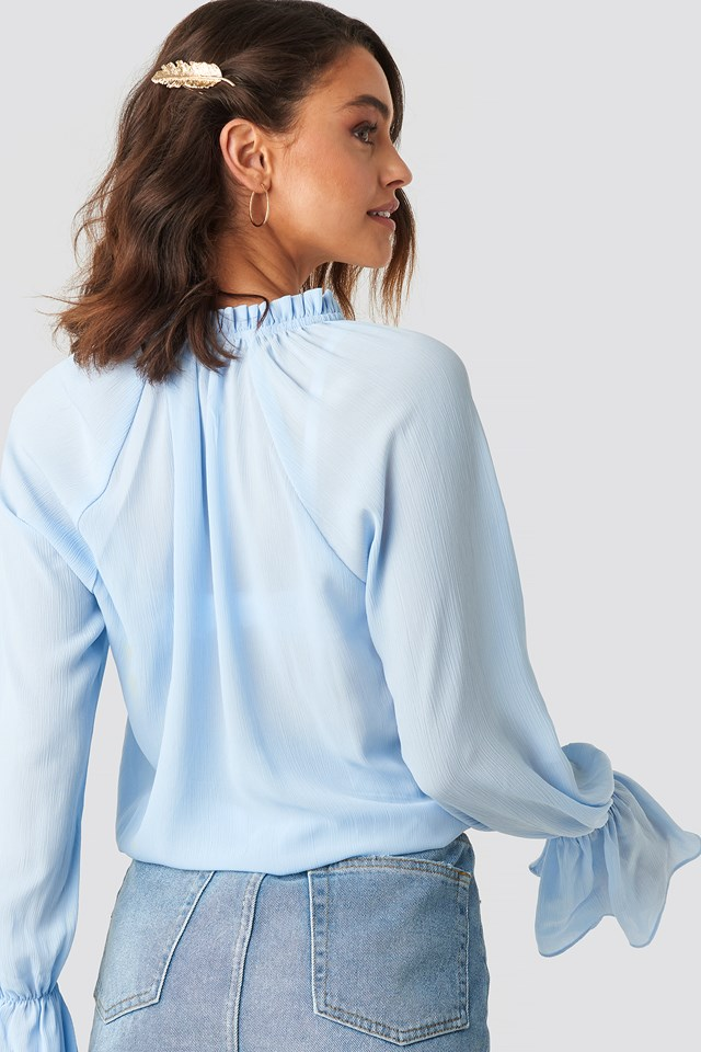 Deep V-Neck Flare Cuff Blouse Light Blue
