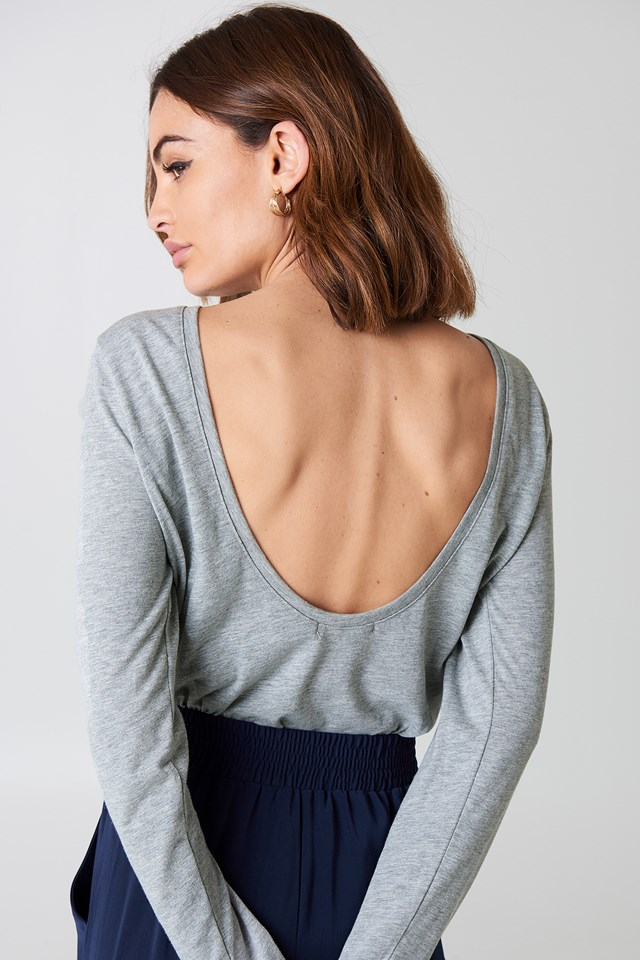 Deep Back Long Sleeve Top Grey Melange