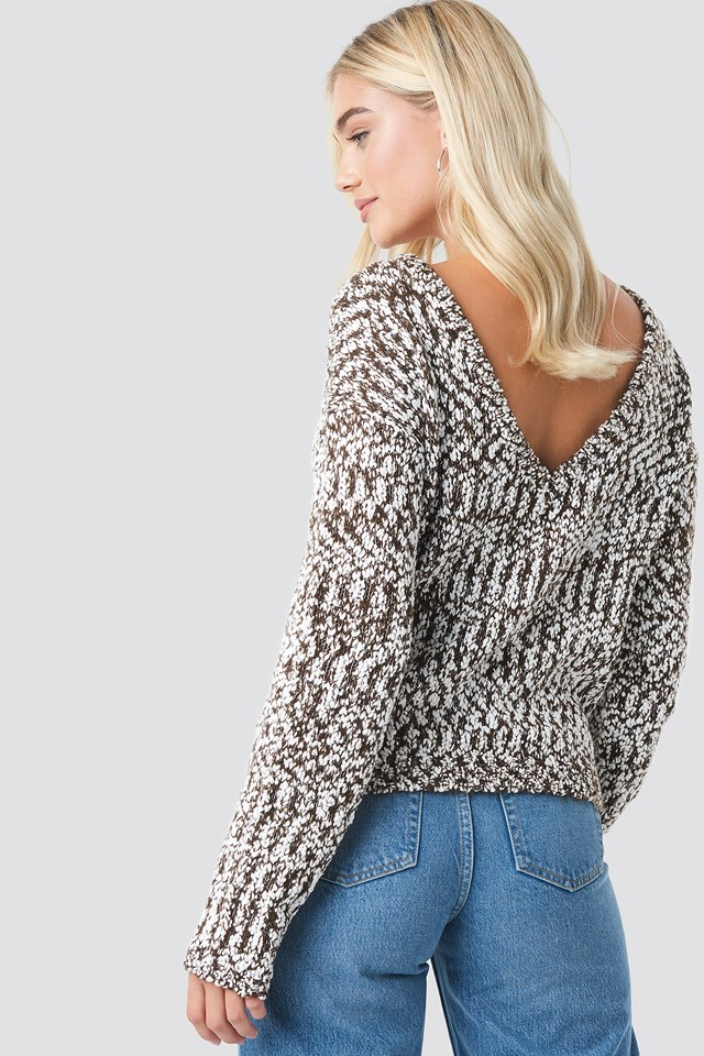 Deep Back Sweater Brown/White