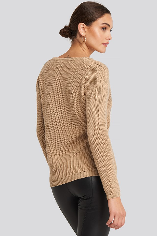 Deep Front V-neck Knitted Sweater Beige