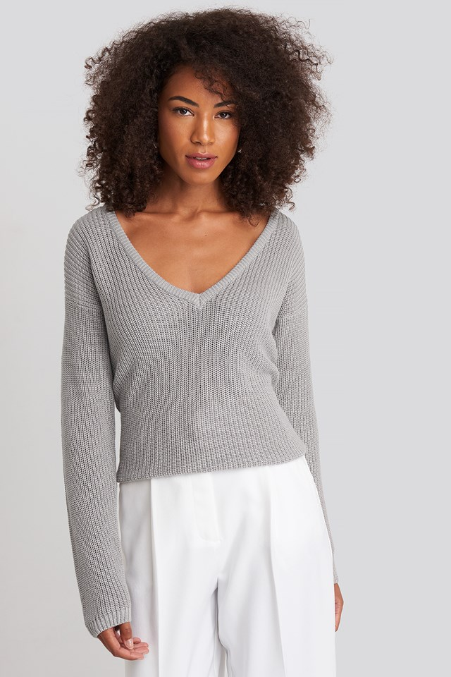 Deep Front V-neck Knitted Sweater Grey