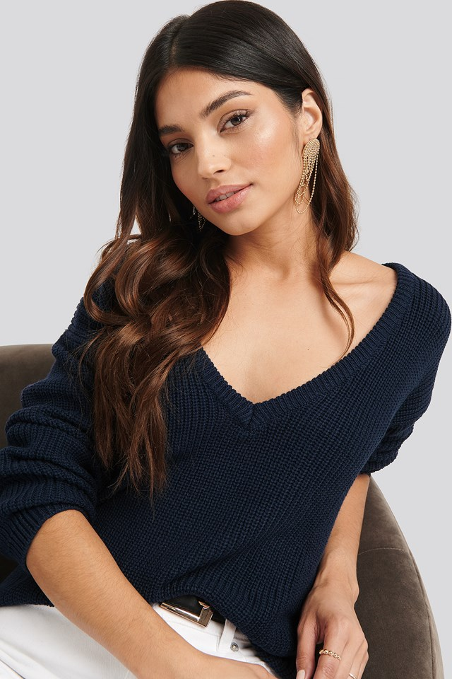 Deep Front V-neck Knitted Sweater Navy