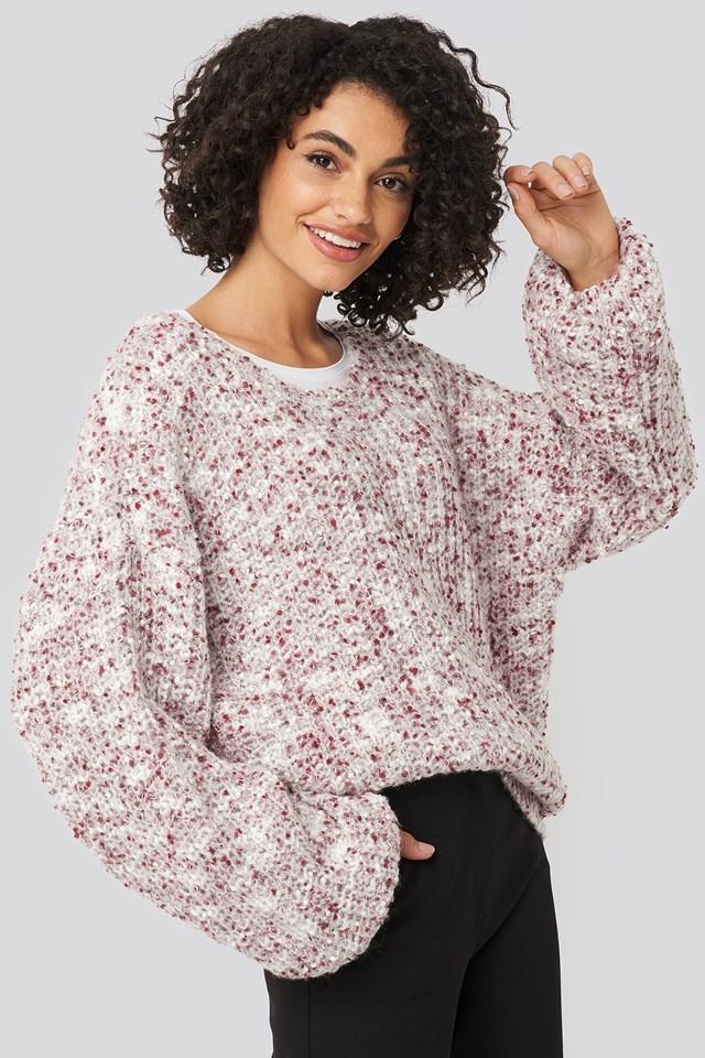Deep Neck Melange Sweater NA-KD Trend