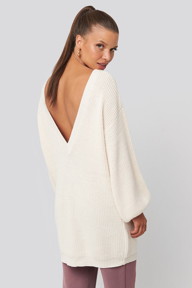 Deep V Back Long Knitted Sweater Offwhite