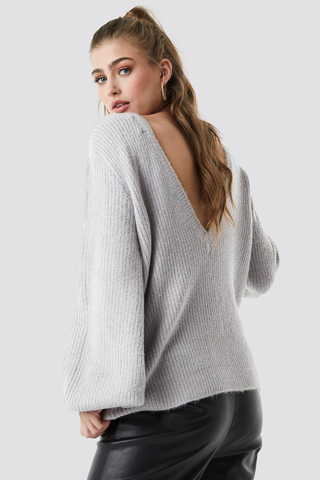 Deep V Back Sweater Grey