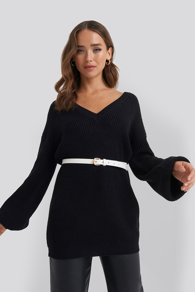 Deep V Front Long Knitted Sweater Black