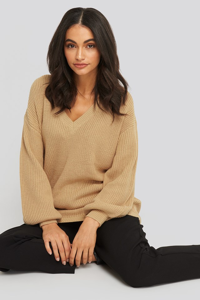 Deep V Front Long Knitted Sweater Beige