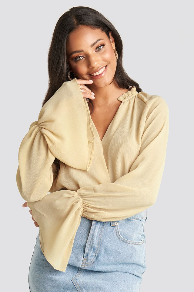 Deep V-Neck Flare Cuff Blouse Light Beige