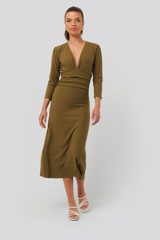 Deep V Waist Detail Dress Dark Beige