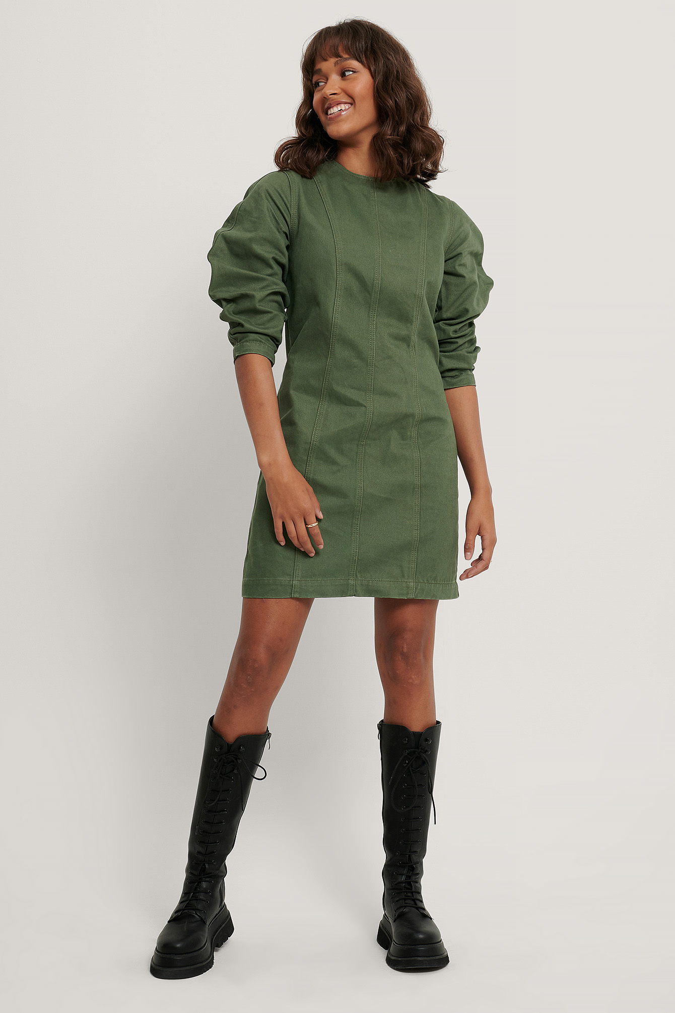Washed Green Organic Denim Dress