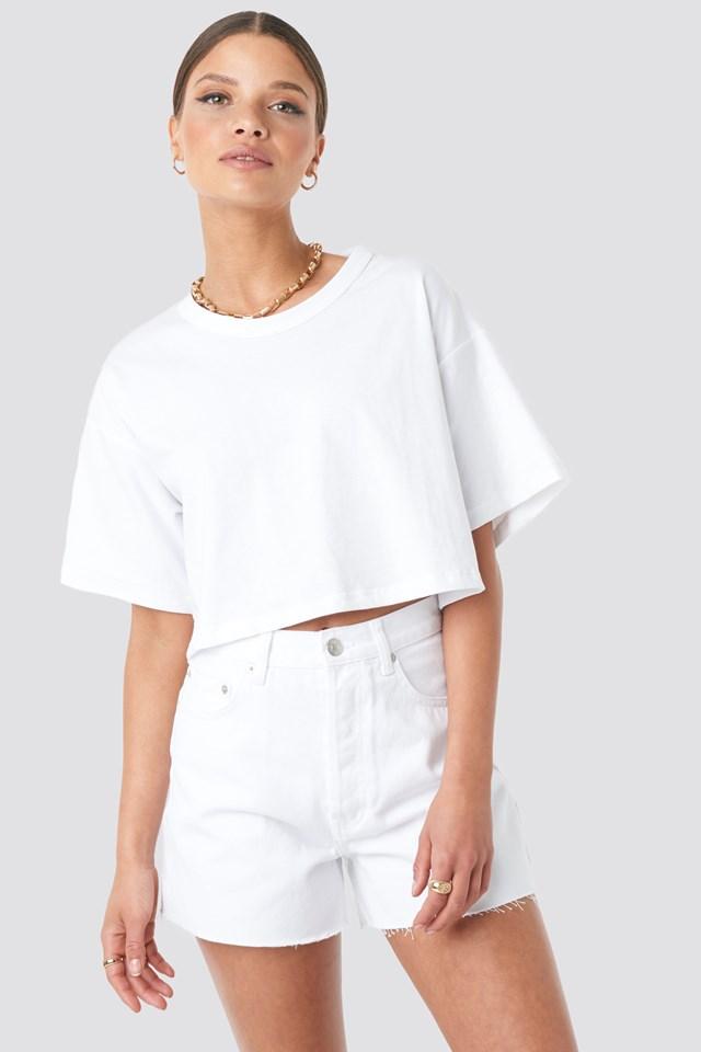 Denim High Waist Shorts White
