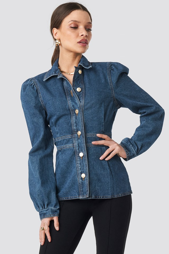 Denim Puff Sleeve Jacket Dark Blue