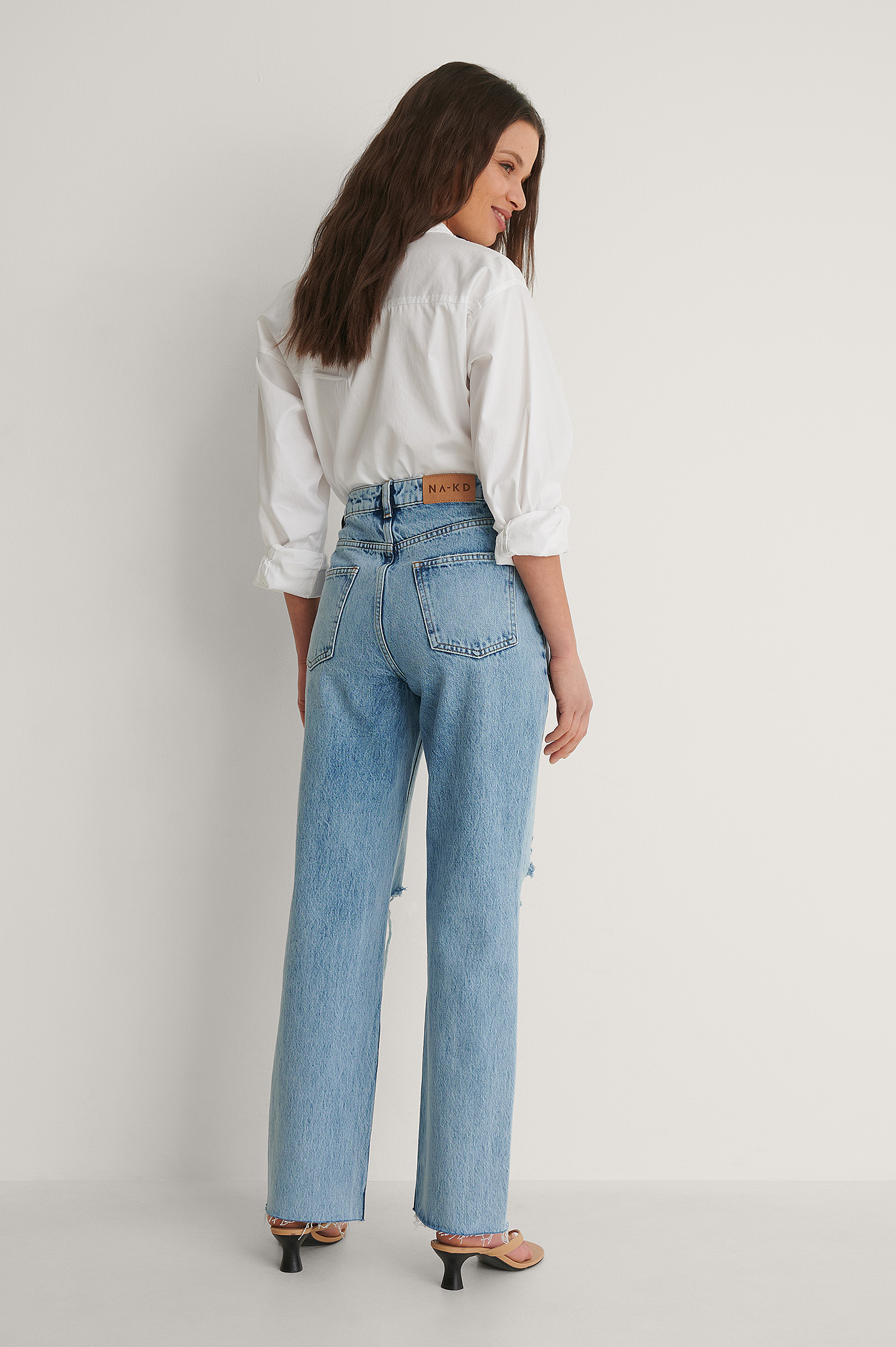 Light Blue Organic Destroyed Detail High Waist Straight Jeans
